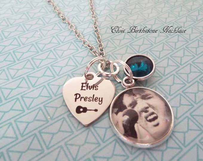 Elvis Presley Necklace Gift, Personalized Birthstone Jewelry, Custom Jewelry, Gift for Her, Elvis Fan Gift, Woman's Birthday, Girl Gift