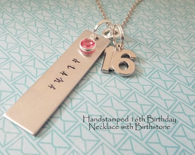 Girl 16th Birthday Gift Name Necklace Personalized Birthstone Sweet 16
