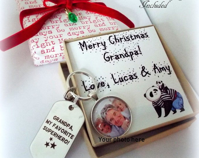 Grandfather Gift, Christmas for Grandpa, Personalized Gift, Gift for Him, Custom Keychain, Grandchild Gift for Grandparents, Granddad Gift