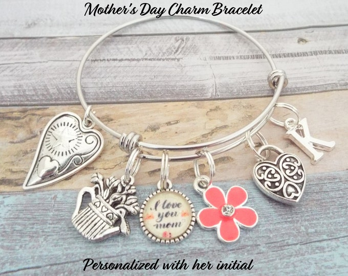 Mom Gift Charm Bracelet, Gift for Mom, Gift for Mother, Child to Mother Gift, Gift for Mother's Day, Personalized for Her, Gift for Her