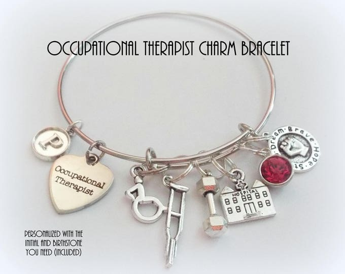 Graduation Gift for Occupational Therapist, Personalized OT Charm Bracelet for New Graduate, Customized Jewelry for Women, Gift for Her