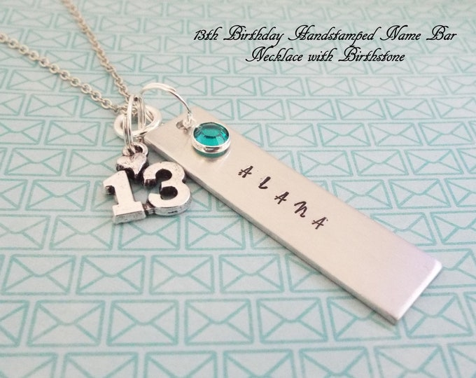 Handstamped 13th Birthday Gift, Gift for 13 Year Old, Personalized Birthstone Jewelry Gift with Birthstone and Date of Birth, Gift for Girls