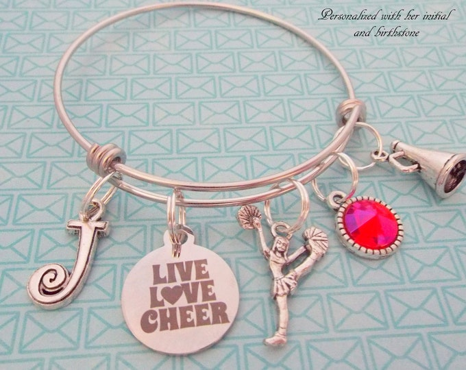 Personalized Cheerleader Charm Bracelet, Cheerleading Gift, Stackable Bangle, Sports Jewelry, Teenage Girl Gift, Custom Coach, For Her