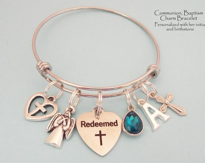 Baptism Gift, First Communion Charm Bracelet, Daughter Baptismal Jewelry, Christian Jewelry, Bible Verse, Personalized Birthstone Initial