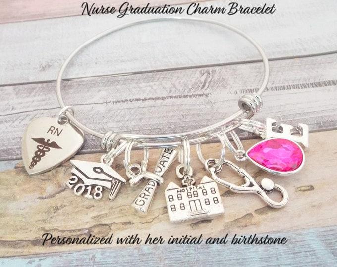 RN Graduation Bracelet Gift, She Believed She Could Nurse Grad Bracelet, Personalized RN Graduation Gift, Nurse Graduation Gift, RN Gift
