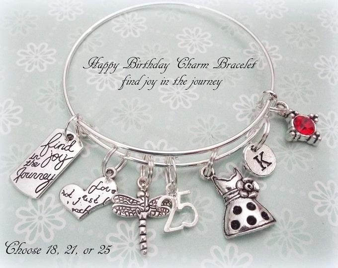 Happy Birthday Gift, Happy Birthday Bracelet, Personalized Jewelry, 25th Birthday, Women's Birthday Gift. Let Your Dreams Take Flight