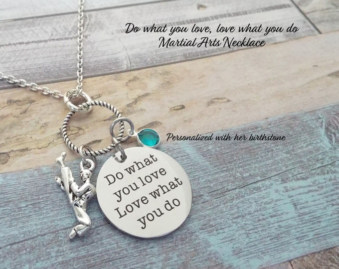 Martial Arts Charm Necklace, Birthstone Necklace, Sports Jewelry, Gift for Her, Girl Gift, Girl Birthday, Woman's' Sports, Personalized Gift