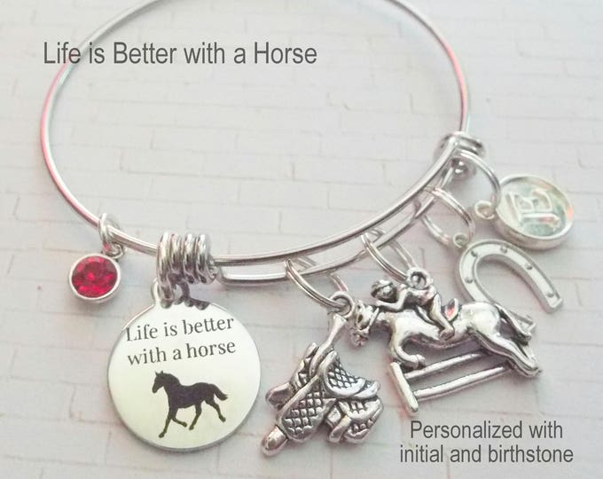 Horse Lover Gift, Equestrian Jewelry Gift, Equestrian Girl Gift, Horse Lover Charm Bracelet, Birthday Gift for Girl Horse Lover, Girl Gift