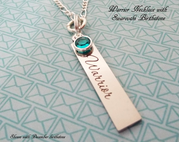 Warrior Necklace, Birthstone Jewelry, Personalized Gift, Custom Jewelry, Gifts for Her, Women's Birthday, Girl's Birthday, Silver Necklace