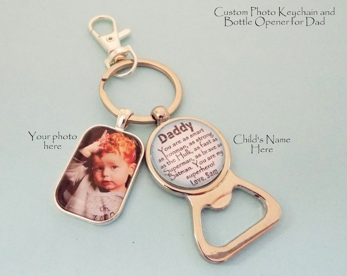 Grandfather or Dad Christmas Gift, Personalized Gift for Him, Custom Keychain for Father, Daughter to Dad Gift, Son to Father Gift for Man