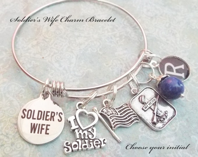 Gift for Wife of Soldier, Patriotic Charm Bracelet, Personalized Gift for Soldier's Wife, I Love My Soldier, Gift for Soldier's Wife