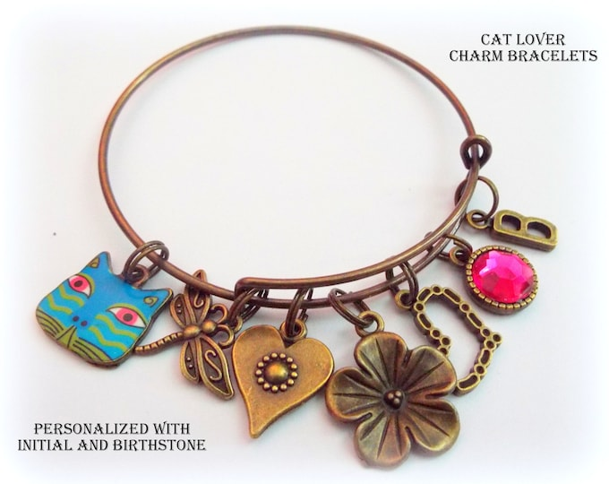 Cat Lover Charm Bracelet, Gift for Cat Lover, Custom Bronze Jewelry, Initial Jewelry, Birthstone Jewelry, Gift for Animal Lover, Girl Gift