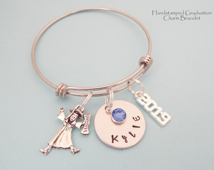 Graduation Gift Girl, Gift for Daughter Graduating, Girl Graduate 2019, Personalized Graduation Charm Bracelet, Gift for Her, Niece Gift