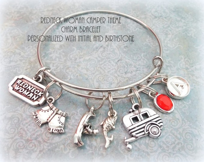 Gift for Best Friend, Redneck Woman Camping Lover Charm Bracelet, Personalized Jewelry for Best Friend, Birthstone Jewelry Gift