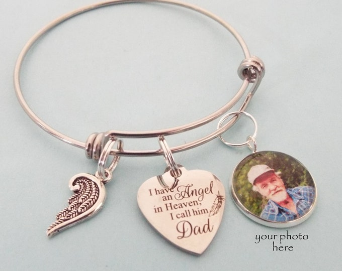 Memorial Bracelet, Loss of Father Sympathy Gift, Custom Photo Memorial Charm Bracelet, Grief and Mourning Gift in Memory of Loved One