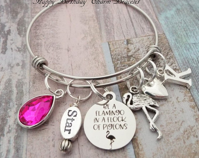 Girl Birthday Charm Bracelet, Flamingo Jewelry, Personalized Gift, Gift for Her, Daughter Birthday, Birthday for Girl, Birthstone Jewelry