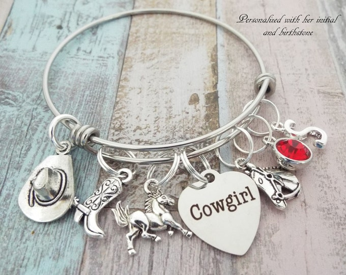 Cowgirl Charm Bracelet, Western Jewelry, Gift for Cowgirl, Personalized Gift, Custom Jewelry, Gift for Her, Girl Gift, Initial Jewelry
