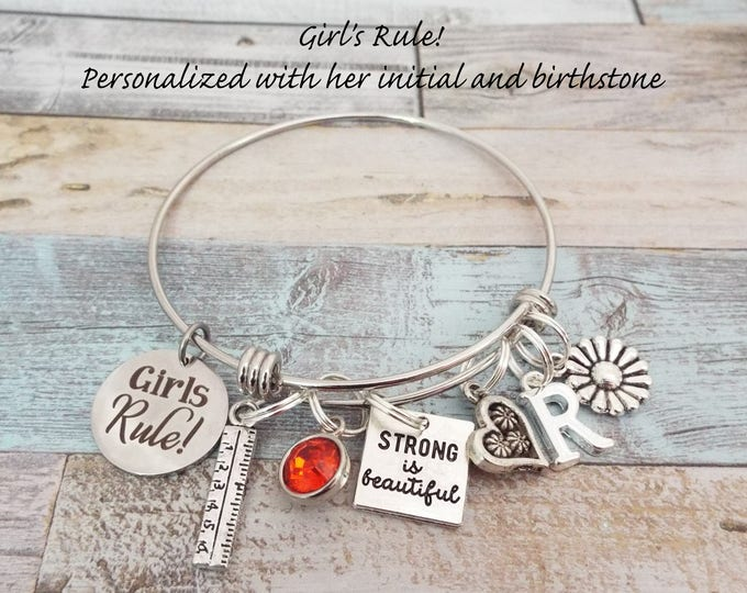 Girls Rule Charm Bracelet, Gift for Girl, Gift for Girl's Birthday, Initial Jewelry, Birthday Jewelry, Personalized Gift, Birthday for Her
