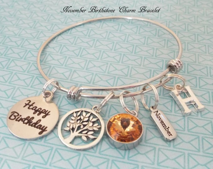 November Birthstone Charm Bracelet, November Birthday Birthstone Jewelry, Personalized Gift, Custom Jewelry, Gift for Her, Daughter Gift