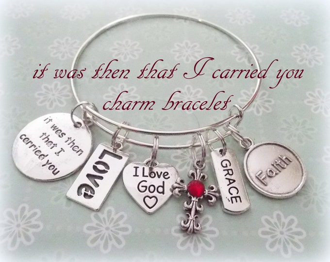 Prayer Charm Bracelet, It Was Then That I Carried You Bracelet, Christian Jewelry, Inspirational Gift, Women's Jewelry, Christian Gift