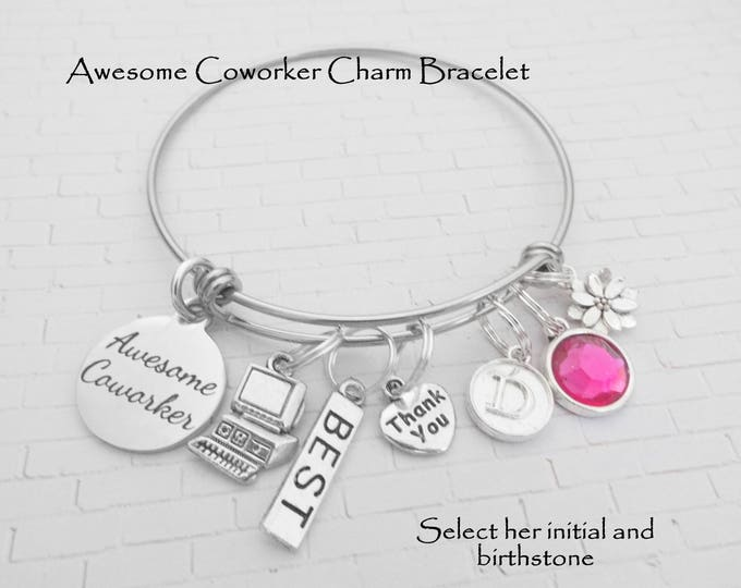 Coworker Gift, Cubicle Buddy Gift, Gift for Coworker, Employee Gift Idea, Gift for Employee, Awesome Coworker Charm Bracelet