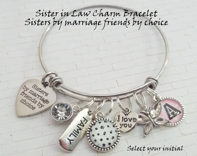 Sister-in-Law Charm Bracelet, Gift for Sister-in-Law, Sister-in-Law Gift, Custom Jewelry for Sister-in-Law, Personalized Gift for Sister