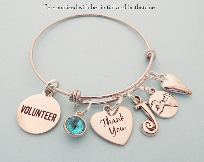 Thank You Gift for Volunteer, Personalized Gift, Volunteers Charm Bracelet, Appreciation Gift, Initial and Birthstone Jewelry, Gift for Her