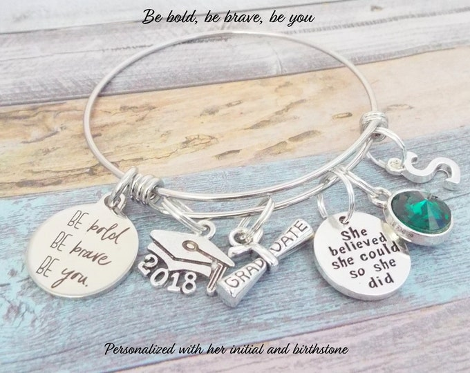 Graduation Gift for Her, Girl's Graduation Gift, High School Graduation, Charm Bracelet, Gift for Her, Personalized Gift, College Graduation