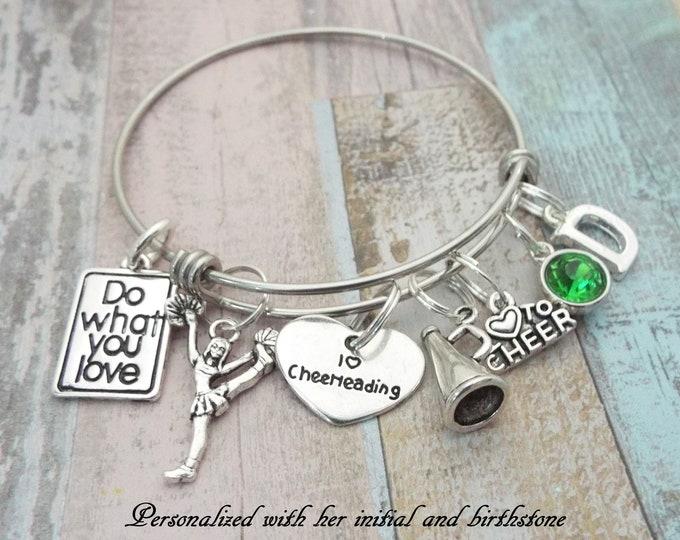 Cheerleader Gift, Cheerleader Charm Bracelet, Personalized Gift, Personalized Jewelry, I Love Cheerleading Bracelet, Birthstone Jewelry