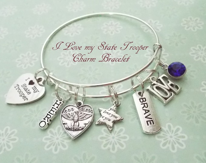 State Trooper Charm Bracelet, Police Wife Gift, Gift for State Troopers Wife, I Love My State Trooper, Personalized Gift, Gift for Her