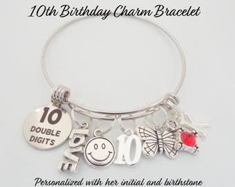 10th Birthday Girl 10 Year Old Charm Bracelet Girls Present Gift For Daughters Custom