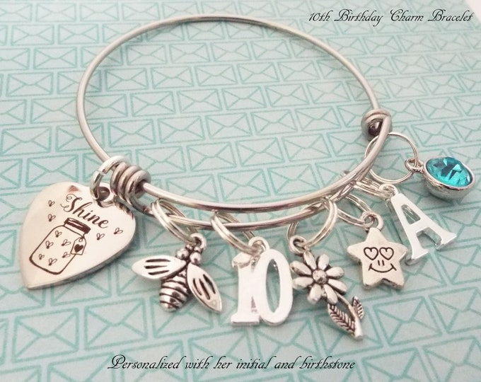 10th Birthday Girl, Personalized Birthday Gift, Daughter Birthday, Gift for Niece, Silver Bracelet, Girl's Birthday, Gift for Her