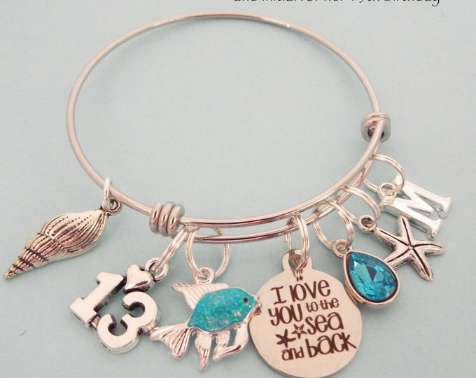 13th Birthday Gift for Girl, Beach Theme Charm Bracelet, Personalized Birthday for Daughter, Teenage Girl Jewelry Gift, Gift for Her