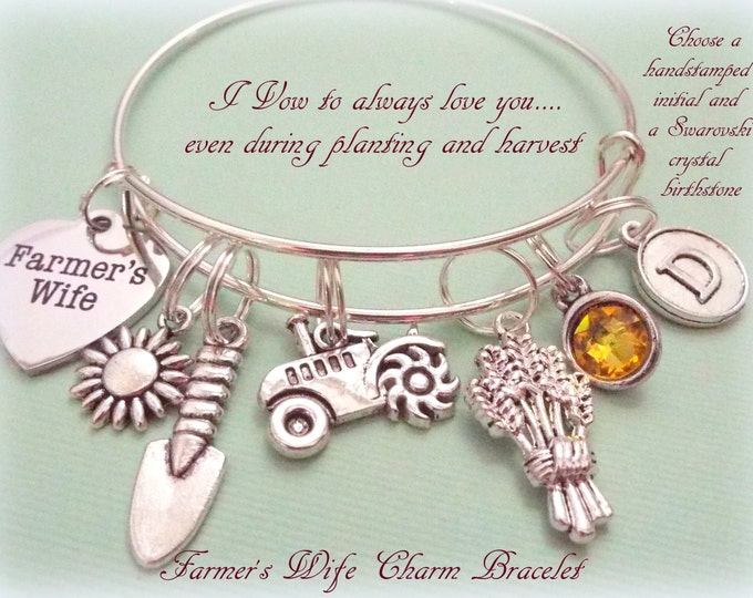 Farmer's Wife Charm Bracelet, Gift Idea for Farmer's Wife, Personalized Gift, Personalized Gift, Initial Jewelry, Gift Ideas for Her