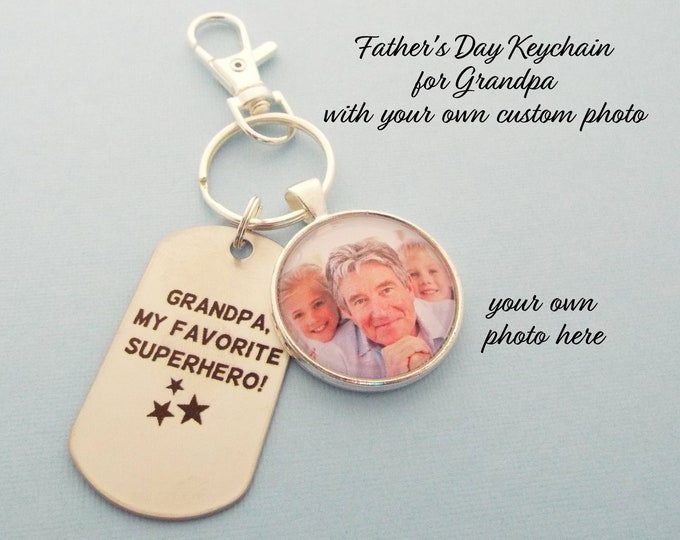 Father's Day Grandpa, Grandfather Gift for Father's Day, Grandchild to Grandfather Custom Photo Keychain, Gift for Grandfather, Gift for Him