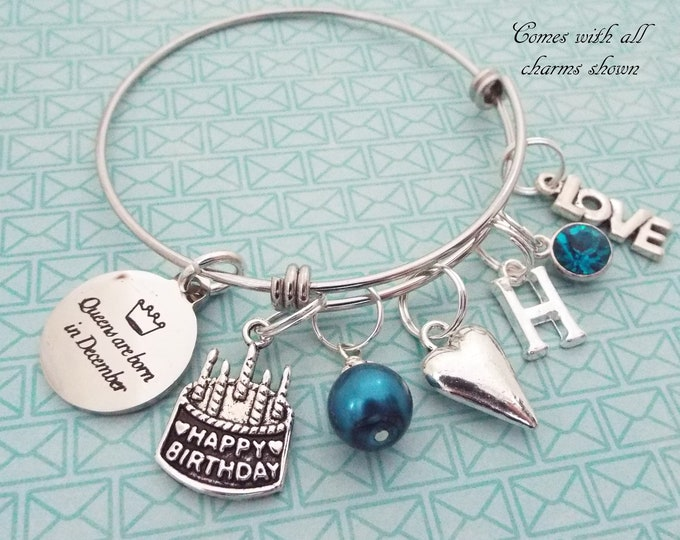 December Birthstone Birthday Gift, Charm Bracelet, Personalized Jewelry, Daughter Gift, Custom Jewelry, Gift for Her, Birthday Cake Charm