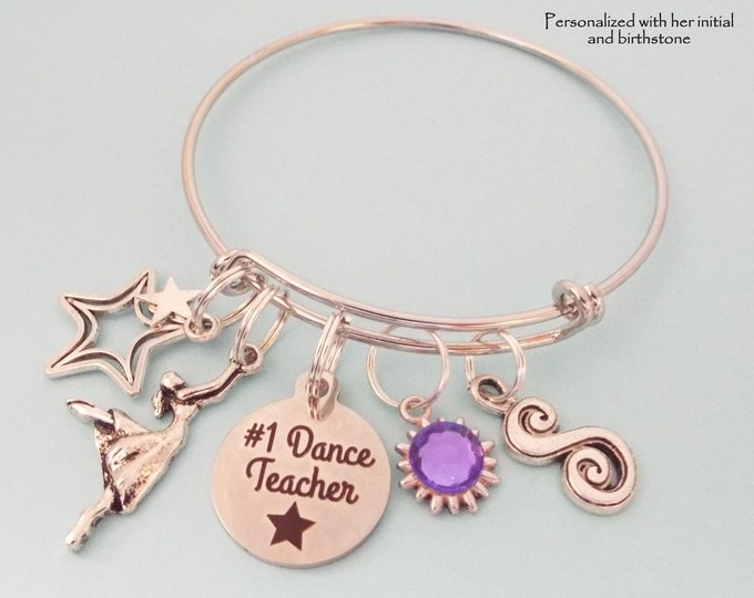 Dance Teacher Gift, Charm Bracelet for Dancing Teacher, Personalized Jewelry Gift for Her, Birthstone Jewelry, Initial Jewelry, Gift for Her