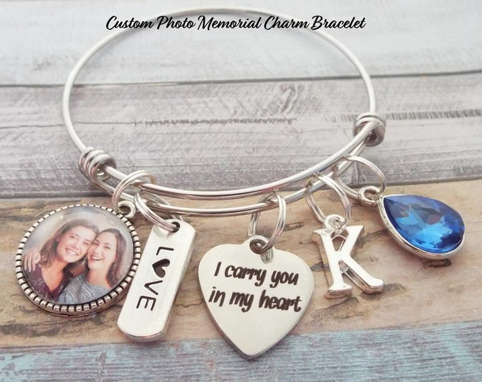 Memorial Bracelet, Custom Photo Charm Bracelet, Consolation Gift, In Sympathy Gift, Grief and Mourning, In Memory of Loved One Gift