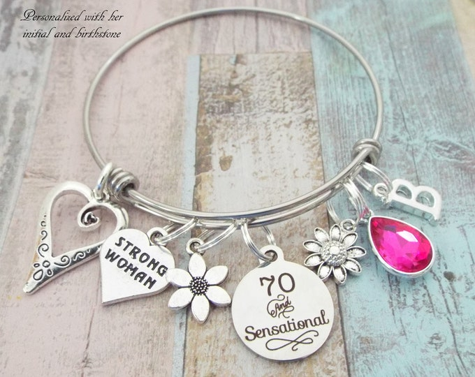 Happy 70th Birthday Charm Bracelet, Gift for 70th Birthday, Birthday Gift for Grandmother, Personalized Gift for 70 Year Old Woman