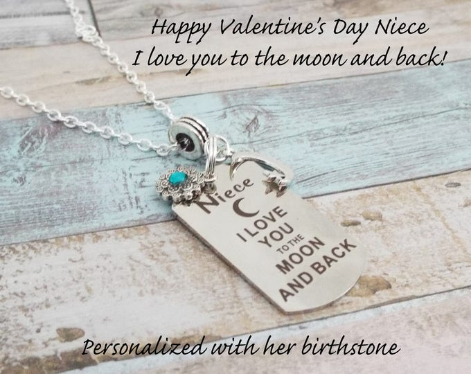 Gift for Niece, Niece Birthday Silver Necklace, Personalized Gift, Custom Jewelry, Gift for Her, Aunt to Niece, Girl Gift, Charm Necklace