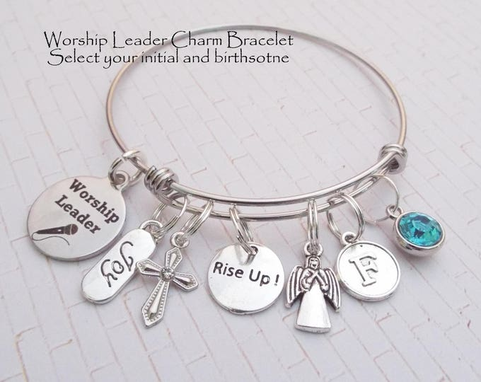 Worship Leader Gift, Gift for Church Worship Leader, Christian Jewelry, Worship Leader Charm Bracelet, Personalized for Her, Gift for Her