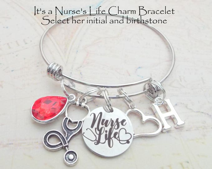 Nurse Graduation Gift, RN Graduate Charm Bracelet, Personalized Gift for Nurse Graduating, Gift for Her, Custom Jewelry, Nursing School Gift