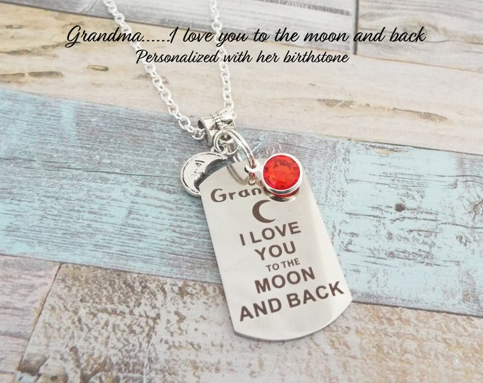 Gift for Grandmother, Granddaughter Gift, Grandma Jewelry, Personalized Gift, Custom Jewelry, Pendant Necklace, Silver Jewelry, Nana Gift