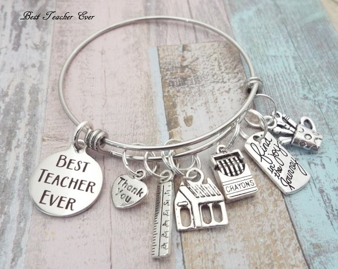 Teacher Gift, Gift for Teacher, Christmas Gift for Teacher, Teacher Charm Bracelet, Personalized Gift for Women, Graduation Gift for Teacher