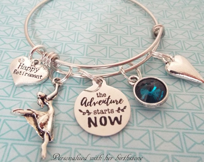 Retirement Gift Charm Bracelet, Retiree Personalized Gift, Custom Jewelry, Gift for Her, Women's Jewelry, Teacher Retirement, Nurse Retire