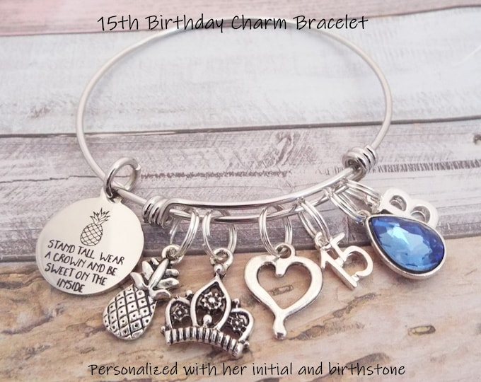 15th Birthday Girl, Teenage Birthday Charm Bracelet, Girl Turning 15 Birthday Gift, Personalized Gift, Custom Jewelry, Gift for Her