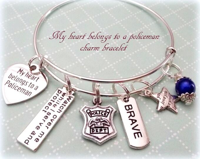 Police Officer Wife Bracelet, Police Officer Gift Ideas, Police Officer Wife Charm Bracelet, Gift Ideas for Her, Police Charm Bracelets