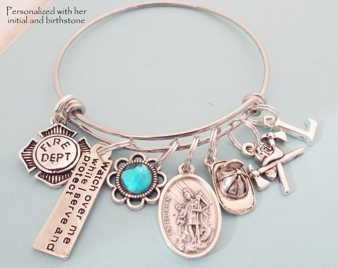 Firefighter Gift, Protection Jewelry for Firefighter, Personalized Gifts, Personalized Jewelry, Birthstone Jewelry, Patron Saint Jewelry,