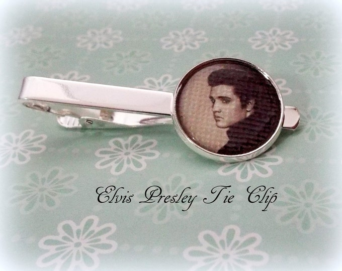 Valentine for Him, Elvis Presley Tie Clip, Valentine's Day Gift for Men, Husband Gift, Music Lover Gift, Groom Tie Clip, Gift for Him