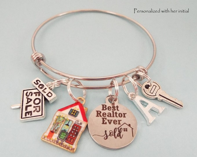 Real Estate Agent Gift Charm Bracelet, Thank You Gift for Realtor, Top Seller Congratulations, Realtor Graduation Gift, Personalized Gift